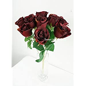 Sweet Home Deco 16'' Silk Rose Artificial Flower Bouquet (12 Stems/12 Flowers) Wedding Home Decorations (Burgundy) 2