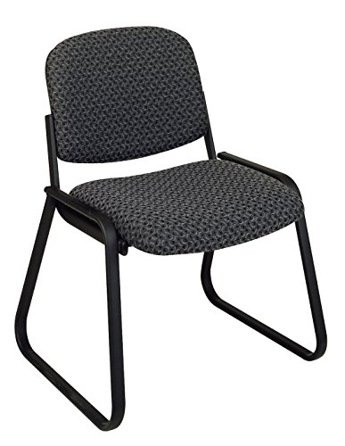 (Office Star Deluxe Sled Base Fabric Visitors Chair with Designer Plastic Shell Back, Charcoal)
