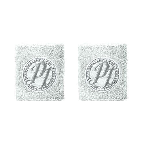AJ Styles WWE Authentic P1 Grey Logo Wristbands Set of 2 New -