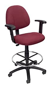 Boss Drafting Stool with Adjustable Arms  and Footring, Burgundy