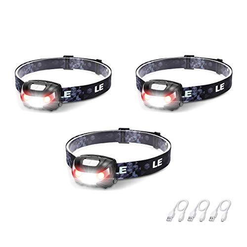 LED Rechargeable Headlamp Flashlights, Headlight with 5 Modes, Adjustable and Lightweight for Kids and Adults, Perfect for Hands Free Running, Camping, Hiking and More, USB Cable Included, Pack of 3