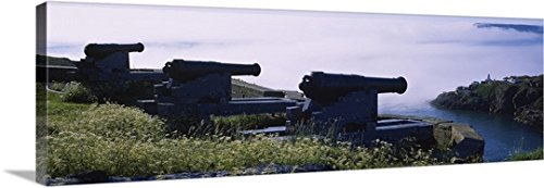 Canvas on Demand Premium Thick-Wrap Canvas Wall Art Print entitled High Angle View Of Three Cannons In A Fort, Signal Hill, Fort Amherst Lighthouse, Saint Johns, Newfoundland And Labrador, - Outdoor Wall Amherst