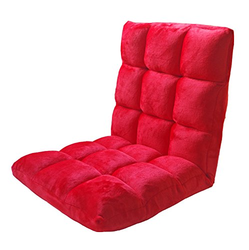 Do4U Home Adjustable Folding Lazy Sofa Six-Position Relax Floor Chair & Gaming Chair -Floor Cushion Multiangle Couch Beds for Watch TV/Gaming/ Midday Rest/Nap (Red) by Do4U