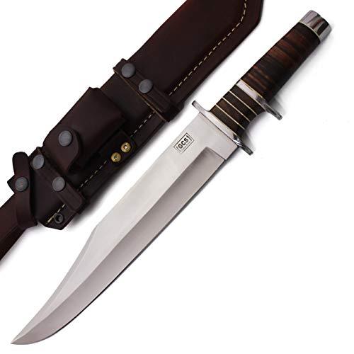 GCS Custom Handmade Stacked Leather Handle D2 Tool Steel Knife & Buffalo Hide Sheath - Stacked Hunting Handle Leather Knife