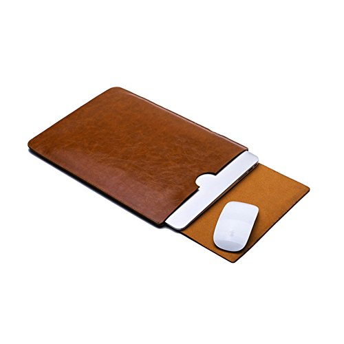 Yapshop Leather Laptop Sleeve for 14,15 Inch Apple Macbook for Computer, Notebook, Ultrabook and Tablet of similar size Brown