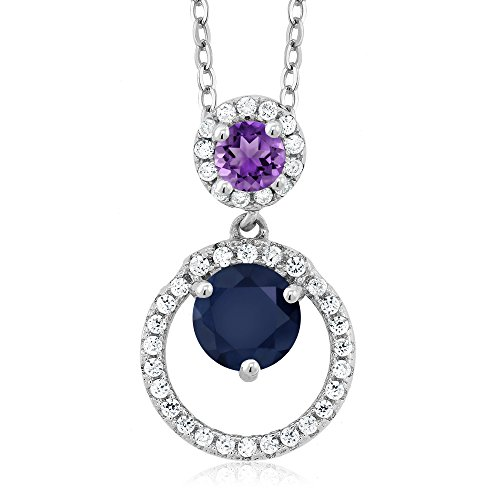 (Gem Stone King 1.84 Ct Round Blue Sapphire Purple Amethyst 925 Sterling Silver Pendant)