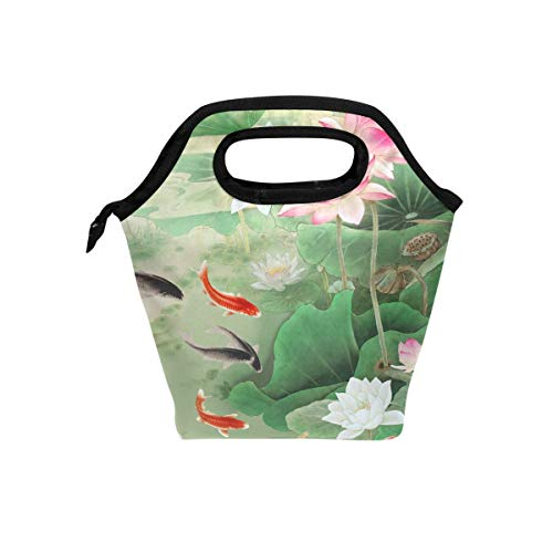 HEOEH Koi Lotus Pond Lunch Bag Cooler Tote Bag Insulated Zipper Lunch Boxes Handbag for Outdoors School Office