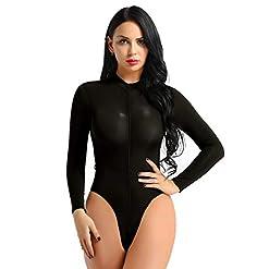 - 41WcU70b4BL - MSemis Women Ladies Long Sleeve One Piece Jumpsuit Bodysuit Turtleneck Zippered High Cut Thong Leotard