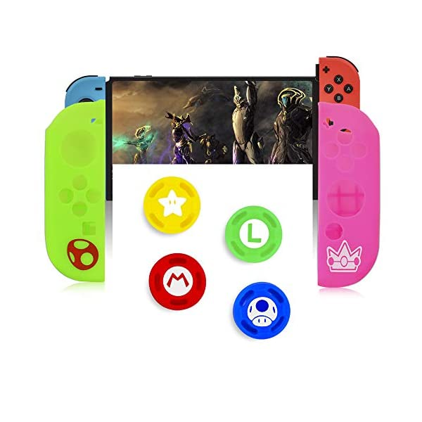 Skins/Protectors for Nintend Switch Joycon Nintendoswitch Soft Silicone Protective Case Controller Cover for Nintendo Switch Gamepad-(Green&Yellow) 6