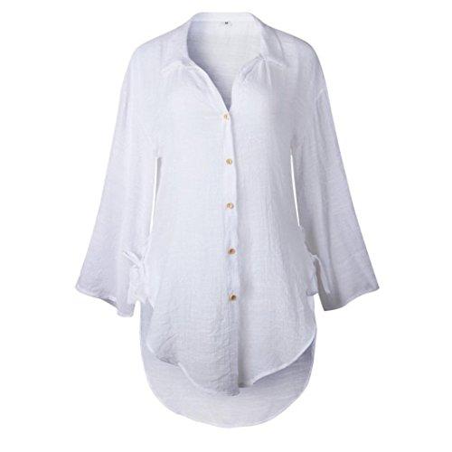 Femme Longue Tops Coton S lache dcontracts T Automne Robe Chemises XL Blanc t Chemise Shirt Blouse HENPI Dames lgant Bouton pwqSC5CdX