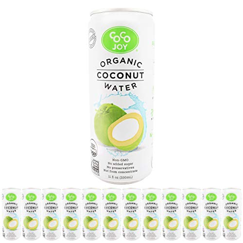 (100% Organic Coco Joy Premium Coconut Water 11 Fl oz Can - 12 Pack Refreshing, Non-GMO, No Added Sugar, Packed with Electrolytes, No)