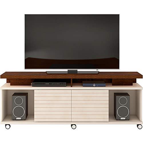 Rack para TV até 70 Polegadas 2 Portas Cora DJ Móveis Rústico Malbec/Off White