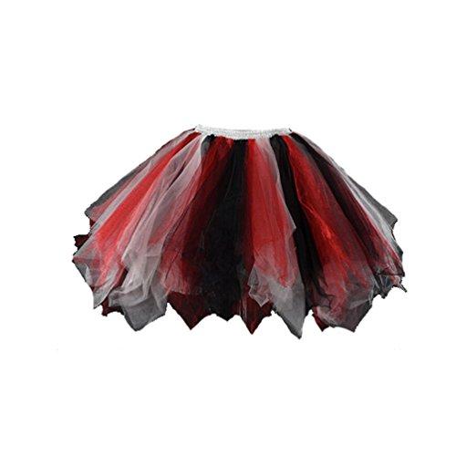 Honeystore Women's Short Petticoat Ballet Bubble Dance Tutu Skirts White Red Black