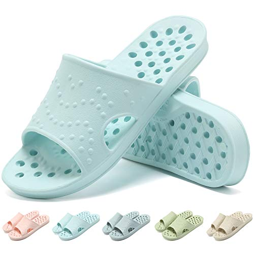 clootess Women's Shower Shoes Bath Slides Sandals Bathroom Slippers Gym Indoor Pool House Non-Slip Holes Quick Drying Soft EVA 7-9 Pink 39.40