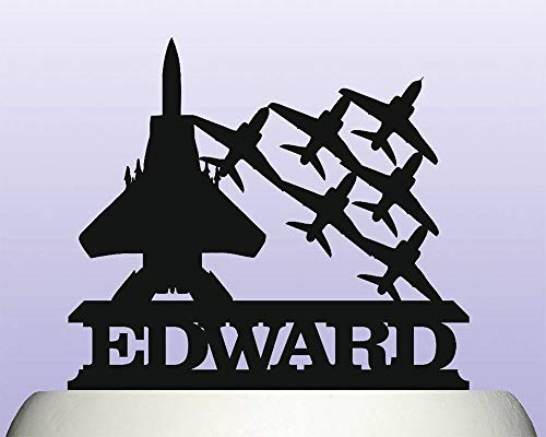 Personalised Acrylic Air Force Military Fighter Plane Escort Cake Topper for Anniversary Party Decorations Birthdays, Weddings, Themed Parties Cake Decoration In Your Choice of -