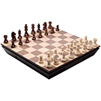Aria Chess Inlaid Wood Board Game with Weighted Wooden Pieces and Tray - 16 Inch Set