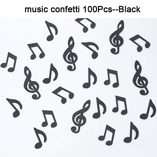 GAKA Black Glitter Music Note Paper Confetti Table Confetti,Music Clef Table Confetti for Music Themed Events Rock Star Party,Karaoke Party Supplies Decorations Pack of 100 ()