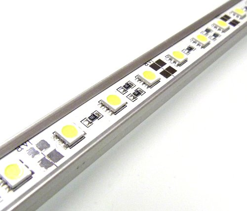 LED AQUARIUM LIGHTS IN COOL WHITE / ALUMINIUM RIGID BAR / TUBE LIGHT / STRIP LIGHTING ** FULLY WATERPROOF 1 METRE KIT WITH 60 x 5050 LED CHIPS / EXTREMELY BRIGHT HIGH QUALITY SUBMERSIBLE ITEM - IDEAL FOR TRANSFORMING AQUARIUMS, FISH TANKS, PONDS, ETC ** L