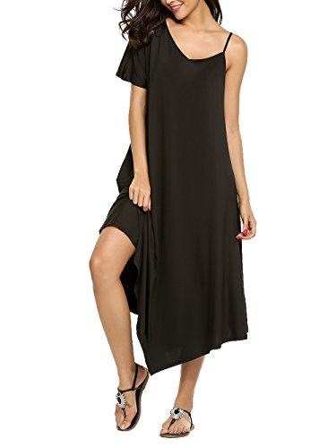 SE MIU Women's Summer Casual Loose Long Dress Short Sleeve M