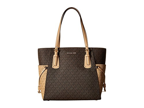 Michael Kors Women's Jet Set Travel Small Logo Tote Bag (Brown/Butternut/Gold)