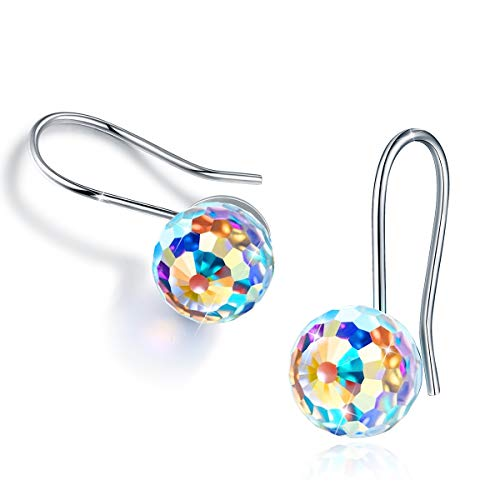 CRYSLOVE Christmas Gifts Aurora Borealis Crystal Earrings for Women 925 Sterling Silver Drop Dangle Earring 18K Platinum Plated Ball Jewelry Fishhook Earrings