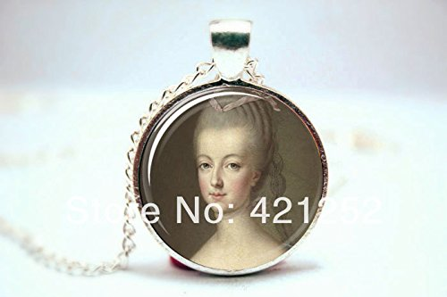 Pretty Lee 2015 Fashion Marie Antoinette Necklace Art Pendant Charm With Necklace Chain Glass Photo Cabochon Necklace Christmas gift (Pendant Glass Antoinette)