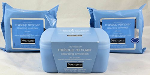 Makeup Remover Cleansing Towelettes Refill - Neutrogena Makeup Remover Cleansing Towelettes Combo Pack, 1-25 Count Tub, Plus 2-25 Count Refills