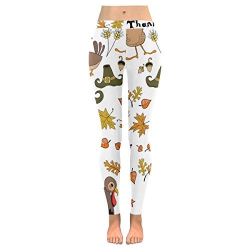InterestPrint Autumn Thanksgiving Turkey Custom Stretchy Capri Leggings Pants for Yoga Running Gym L