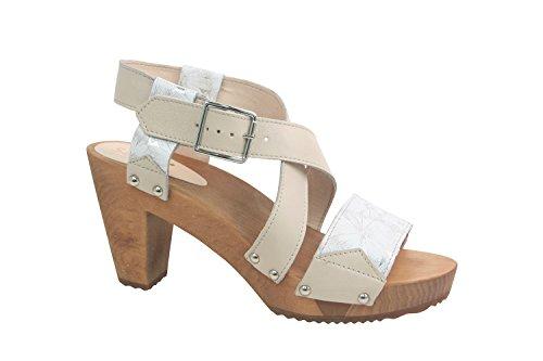 Sanita Womens Petulia Real Leather Sandals Off White w/sunflower