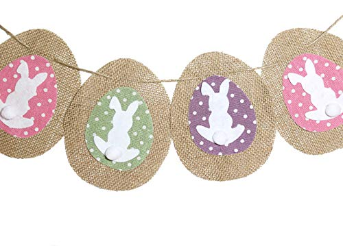 dealzEpic - Cute Colorful Rustic Rabbits/Bunnies Decorative Burlap Banners for Home and Garden Decoration