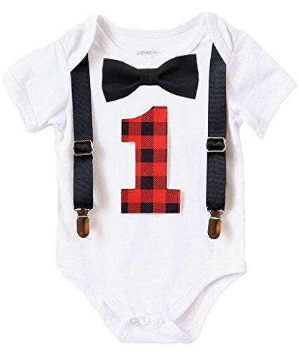 Lumberjack Outfits (Noah's Boytique Baby Boys First Birthday Outfit Lumberjack Camping Theme Buffalo Plaid 18-24 Months)