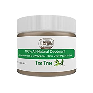 BEST Organic & Natural Deodorant for Men, Women, and Teens to Keep You Dry and Fight Odor, Lasts All Day, 60 Day Supply, Aluminum Free, Paraben Free, Tea Tree, 2 Oz. Jar