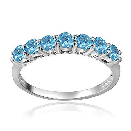Sterling Silver Swiss Blue Topaz 3mm Thin Half Eternity Band Ring, Size 7