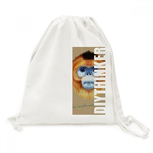 nkey Animal DIYthinker Canvas Drawstring Backpack Travel Shopping Bags ()