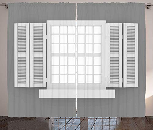 rtains, Graphic Illustration of Wooden Window Shutters Traditional Style Antique Bohemian, Living Room Bedroom Window Drapes 2 Panel Set, 108 W X 90 L Inches, White Grey ()