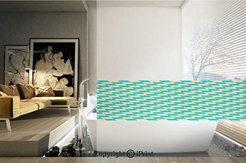 Decorative Privacy Window Film/Art Deco Style Chess Table Dart Like Horizontal Vintage Image/No-Glue Self Static Cling for Home Bedroom Bathroom Kitchen Office Decor Turquoise and Light - Chess Table Oak