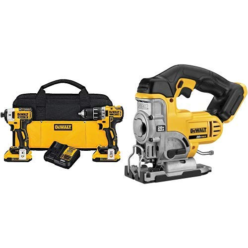 DEWALT DCK283D2 20V MAX XR Compact Cordless Drill/Driver & Impact Driver Combo Kit with DCS331B 20-Volt MAX Li-Ion Jig Saw  (Tool Only)