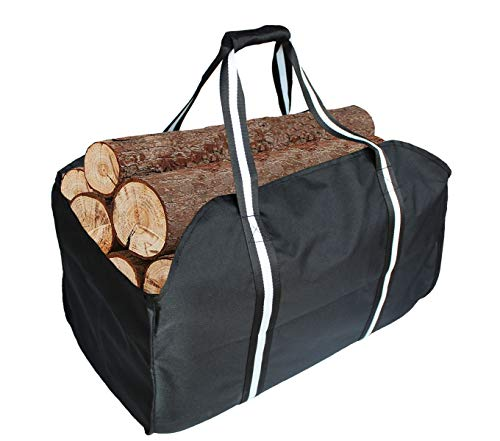 KHIKILY Heavy Duty Large Canvas Log Tote Bag Carrier Indoor Fireplace | Firewood Carriers Totes Holders Woodpile Rack for Outdoor Tubular Birchwood Stand Hearth Stove Tools Set Basket (Color 1)