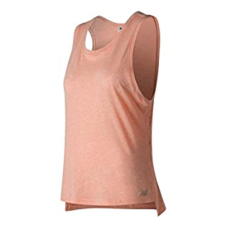 New Balance Women's Cotton Tank Top, Bleached Sunrise Heather, S