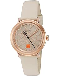 Bulova Womens Quartz Stainless Steel and Leather Dress Watch, Color:White (Model: 98L216)
