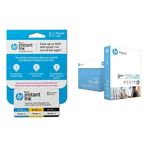 HP Instant Ink 5 dollar Prepaid Card, use to enroll in 50, 100, or 300 page plan With HP Paper Printer Paper, Copy Paper Instant Ink Office20, 8.5 x 11 Paper, Letter Size, 20lb Paper, 92 Bright, 5 Ream / 2,500 Sheets Acid Free Paper (112150C)