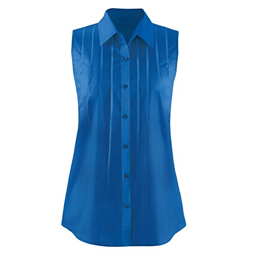 Women's Pintuck Button Down Sleeveless Shirt, Royal Blue, Large
