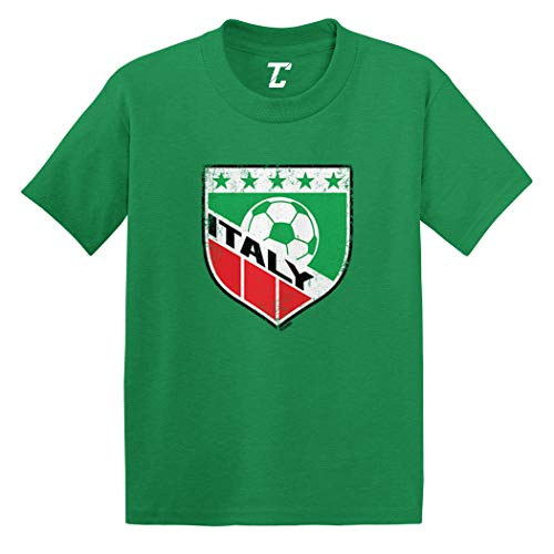 Italy Soccer - Distressed Badge Infant/Toddler Cotton Jersey T-Shirt (Kelly, 2T)