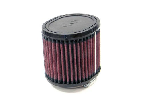 K&N RU-0990 Universal Clamp-On Air Filter: Oval Straight; 2.25 in (57 mm) Flange ID; 4 in (102 mm) Height; 4.5 in x 3.75 in (114 mm x 95 mm) Base; 4.5 in x 3.75 in (114 mm x 95 mm) Top