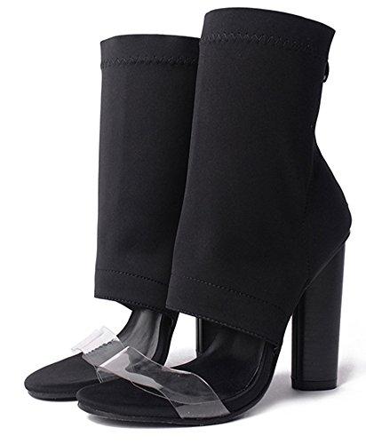 Kurzschaft Blockabsatz Damen Schwarz Sandale Transparent Zehen Aisun Offene Elastisch Sommerstiefel qRw4y7p
