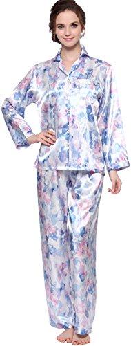 (Lavenderi Women's Long Sleeve Premium Satin Pajama Set (Medium, Blue Floral Print))