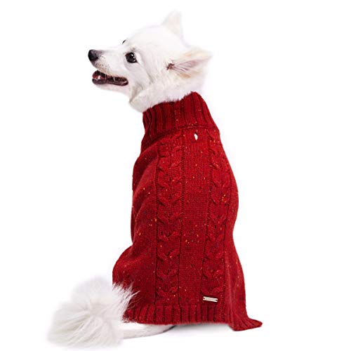 Blueberry Pet 2019 New 4 Colors NEP Yarn Wool Blend Cable Knit Pullover Turtleneck Dog Sweater in Brick Red, Back Length 14