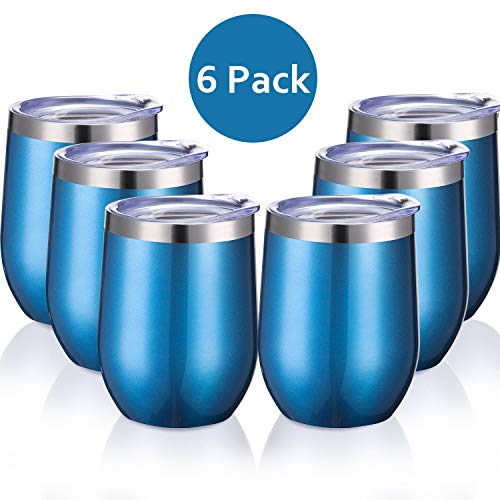 Skylety 6 Pack 12 Oz Unbreakable Drink-Ware Stemless Wine Tumbler, Stainless Steel Triple-Insulated Vacuum Wine Glass Cup with Lids for Wine, Coffee, Champagne, Cocktails and Beer (Aquamarine) ()