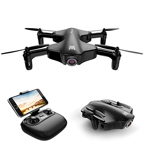 Foldable Drone, Potensic RC Drone with Camera, Optical Flow Positioning Wi-Fi Quadcopter with 120° Wide-Angle Shot -Flight Route Setting, Altitude Hold, Black