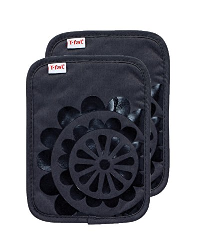 T-fal Textiles Silicone Printed Medallion 100% Cotton Twill Hot Pad Pot Holders, 9-inches x 6.75-inches, Set of 2, Charcoal Grey